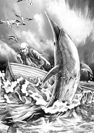 《老人与海》黑白名著插图|商业插画|插画|pan
