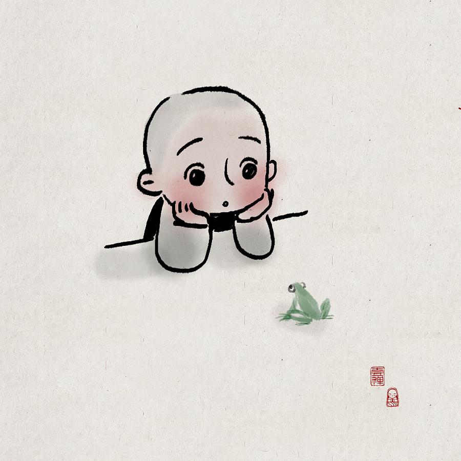 一禅小和尚|其他插画|插画|一禅小和尚 - 原创设