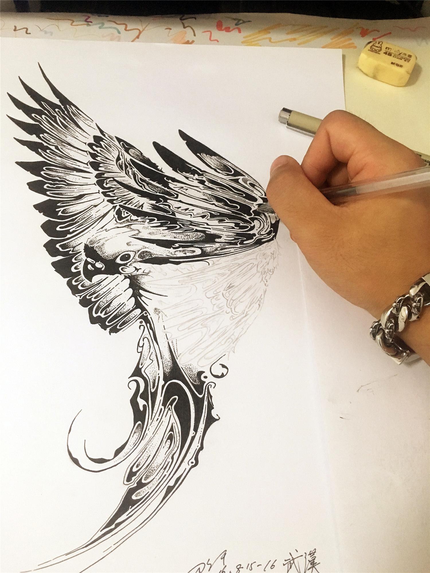 鹦鹉点线面的习作图片
