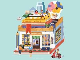 ROOM114创意插画大街活动-留留的书店