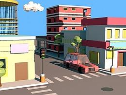 C4D-城镇的街角