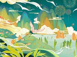 联华鲸选声音明信片插画设计