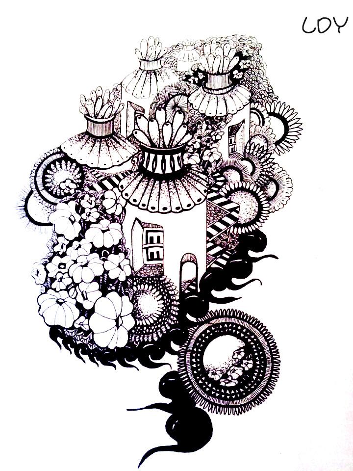 黑白手绘 小屋|其他绘画|插画|刺仙人掌301