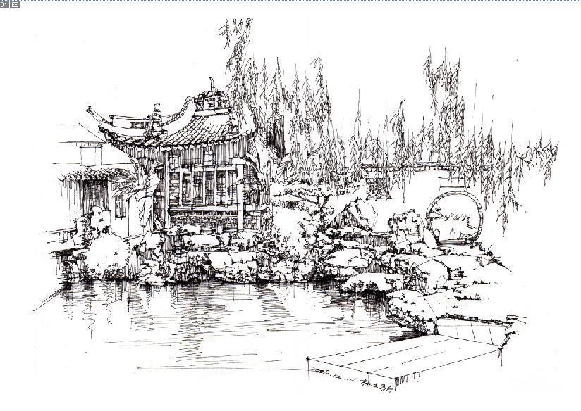 风景园林手绘线稿|插画|插画习作|renghua - 原创作品