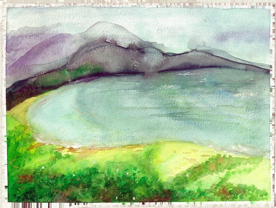 寫生/水彩風景《湖光山色》