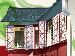 青绿小桥流水人家中国传统民居母子矢量插图