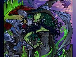 在Adobe Illustrator中创建西方邪恶的女巫插画
