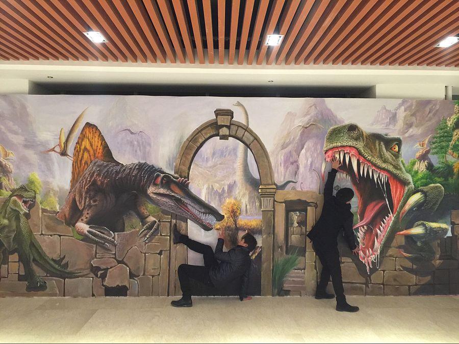 上海纯手绘3d立体画《恐龙归来》|油画|纯艺术|上海3