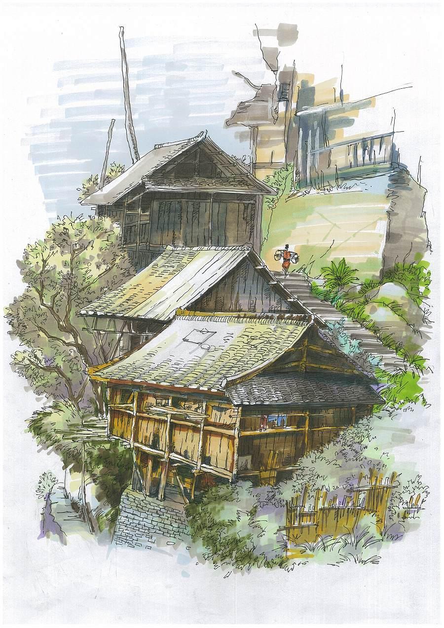 马克笔针管笔手绘山村清晨|速写|纯艺术|土豆纯一郎