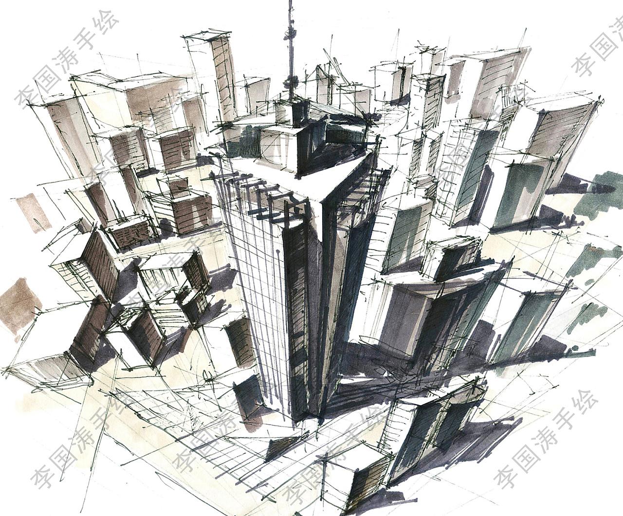 马克笔建筑手绘