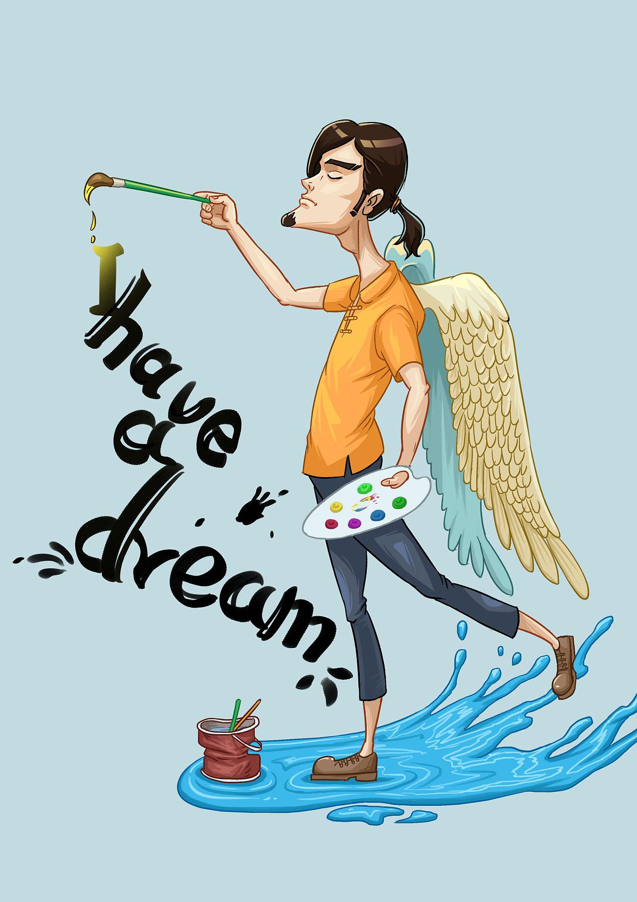 梦想翅膀卡通图