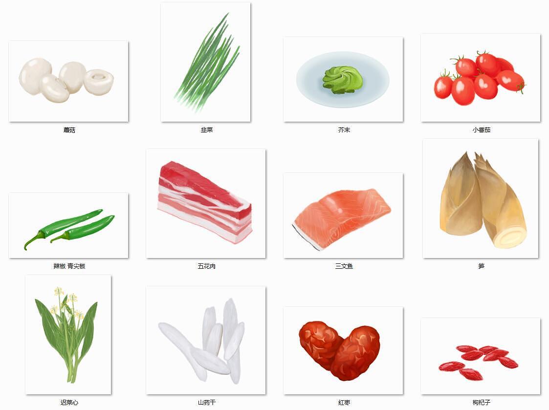 手绘食物素材