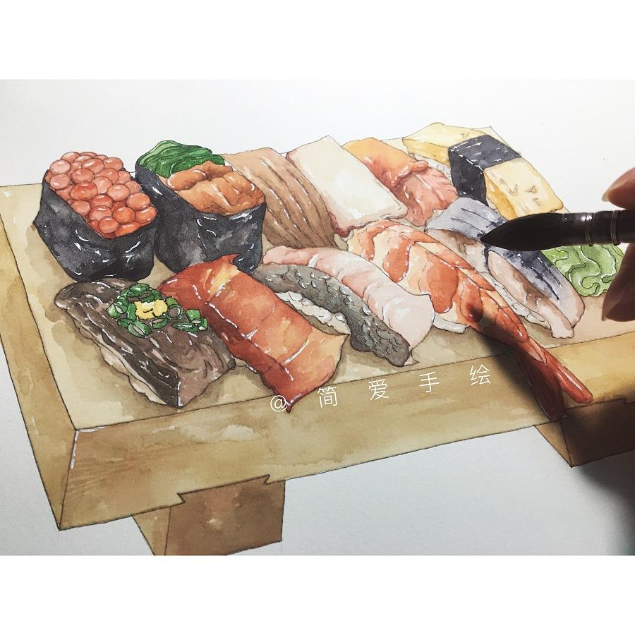 手绘日式料理|商业插画|插画|简爱手绘