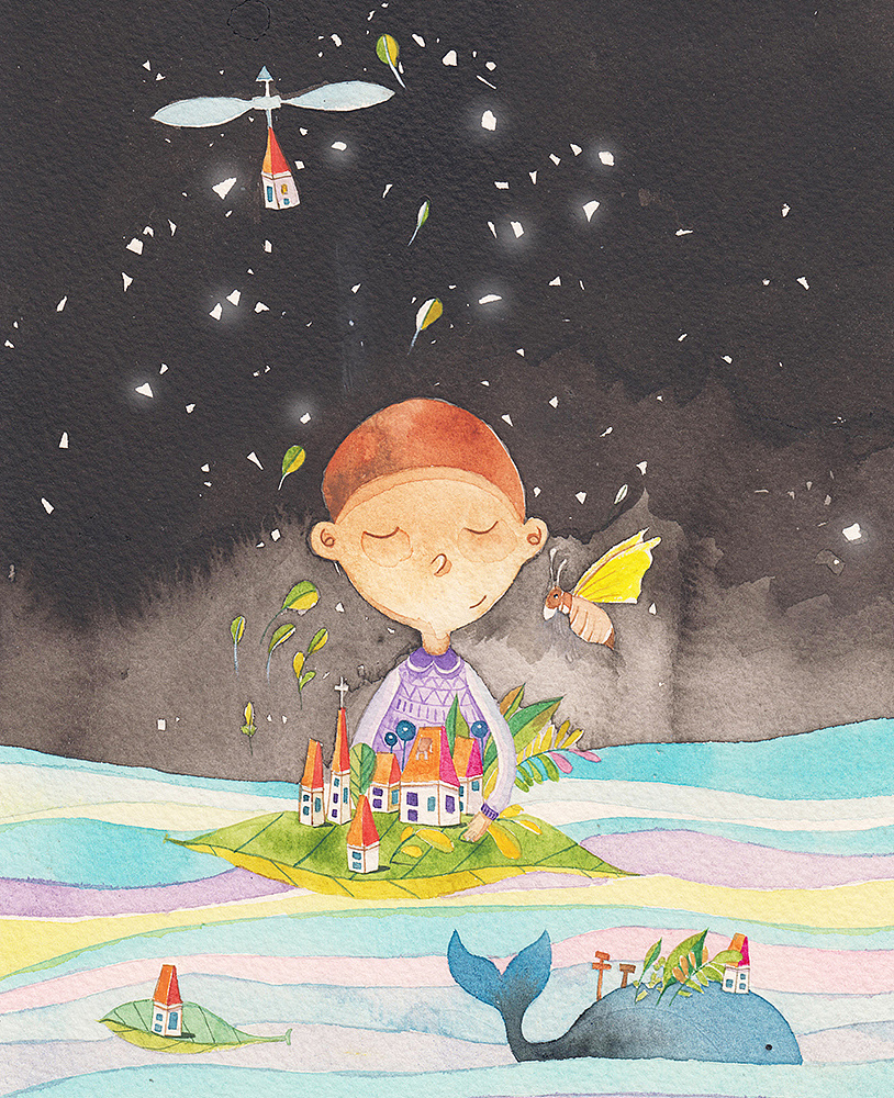 卡通手绘天空鲸鱼