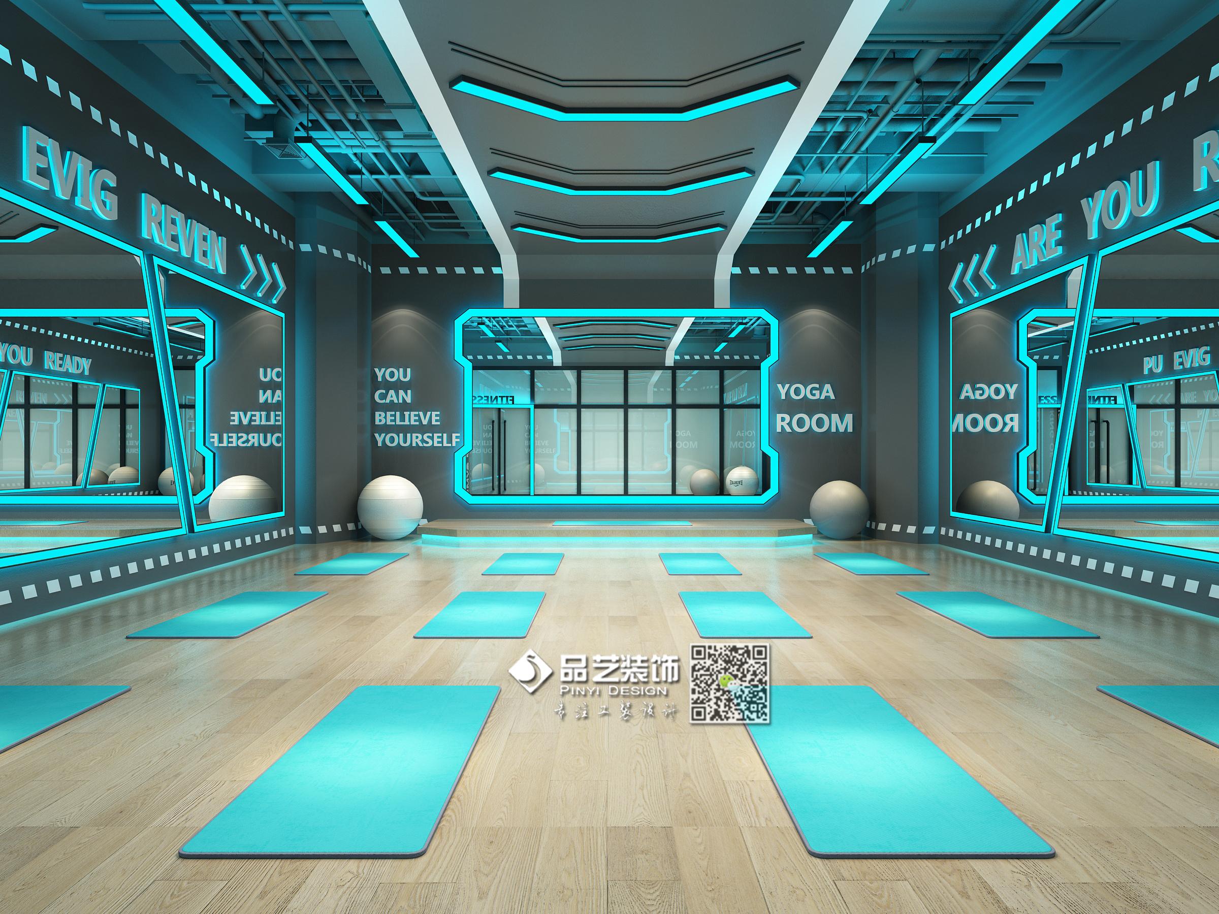 广州健身房_科技工业风健身房装修设计拳击馆设计|空间|室内设计|品艺装饰 ...