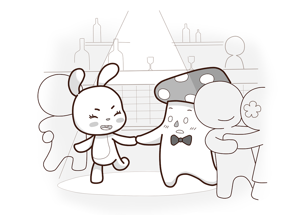 一组关于爱情的插画