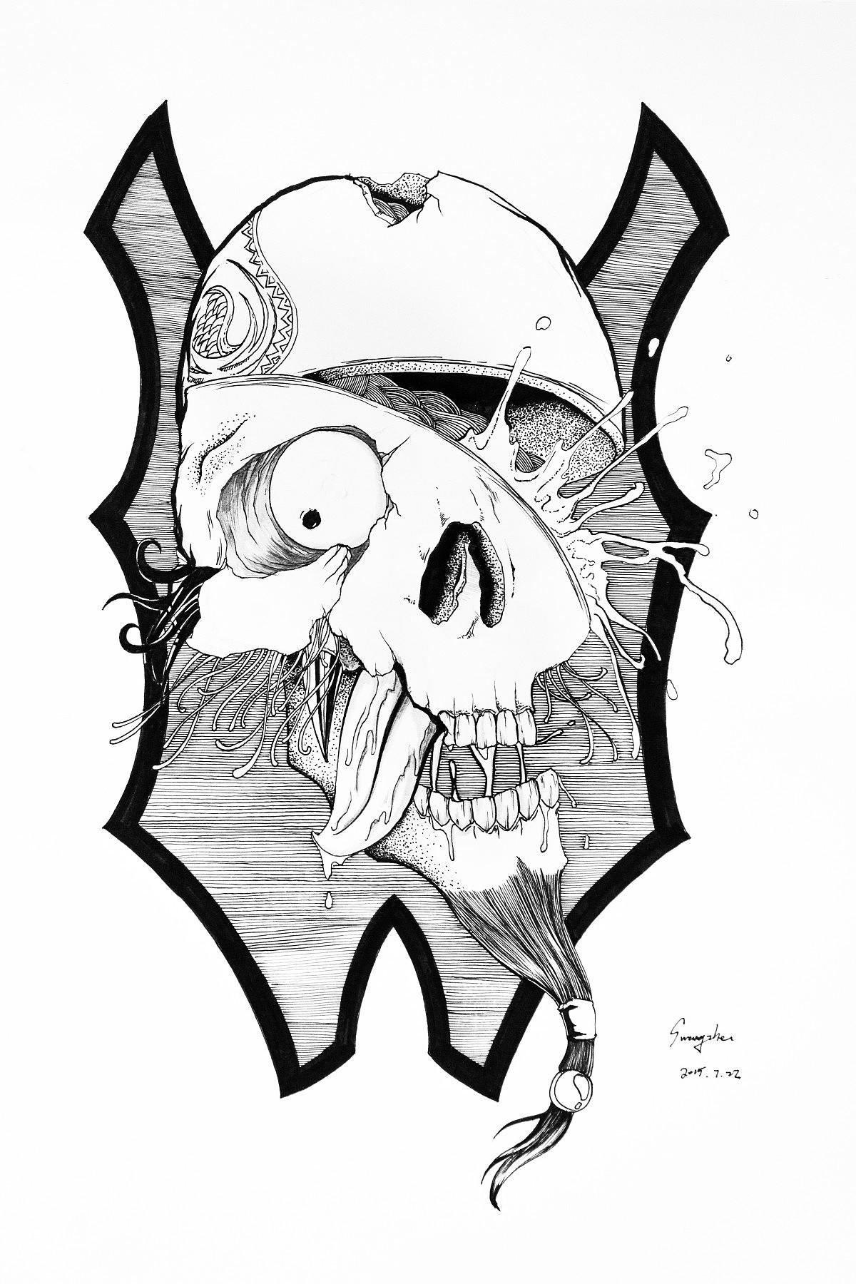 骷髅简笔画手绘