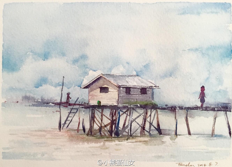 【小熊猫】水彩手绘记录水彩风景速写手绘旅行水彩教程