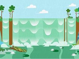热带雨林插画5张。