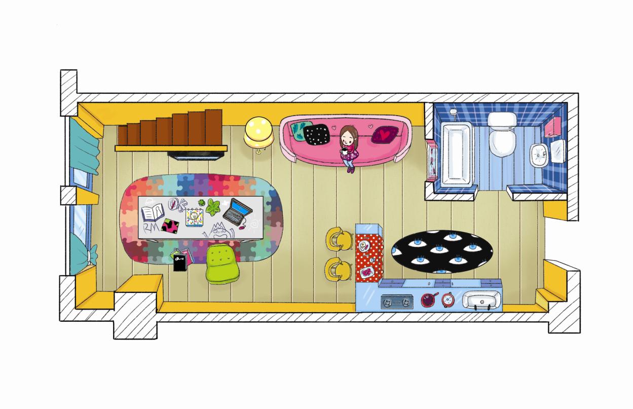 手绘女孩风格户型图房间空间|插画|商业插画|梦寐
