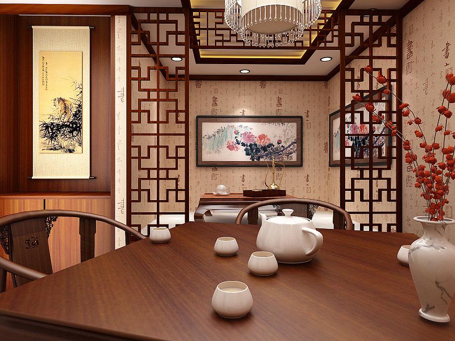 茶楼包房中式设计效果图|成都茶楼设计装饰公司|室内