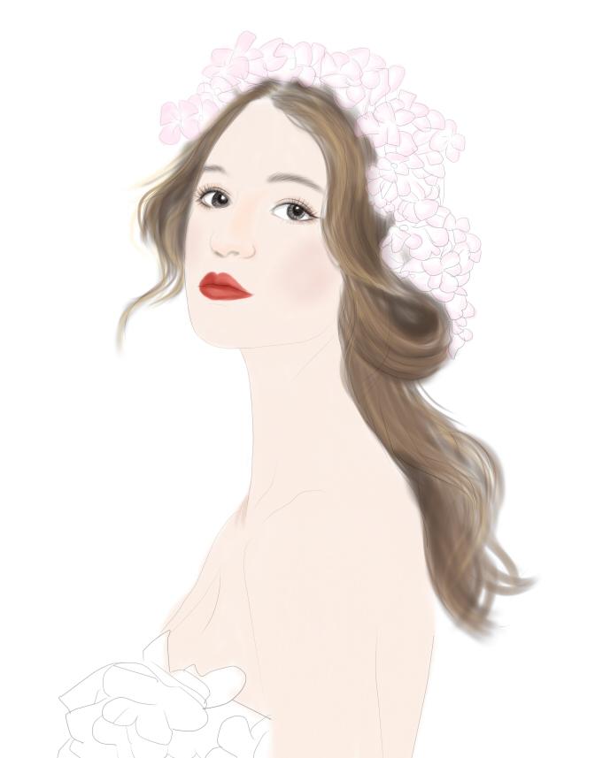 手绘戴花美女|肖像漫画|动漫|sophia_6 - 原创设计