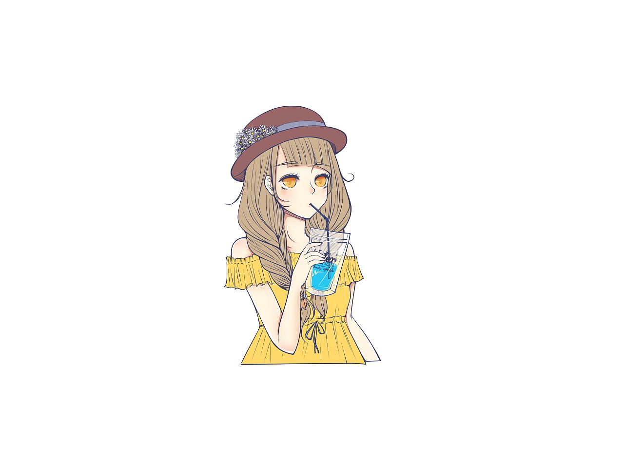 夏季小清新插画零食少女