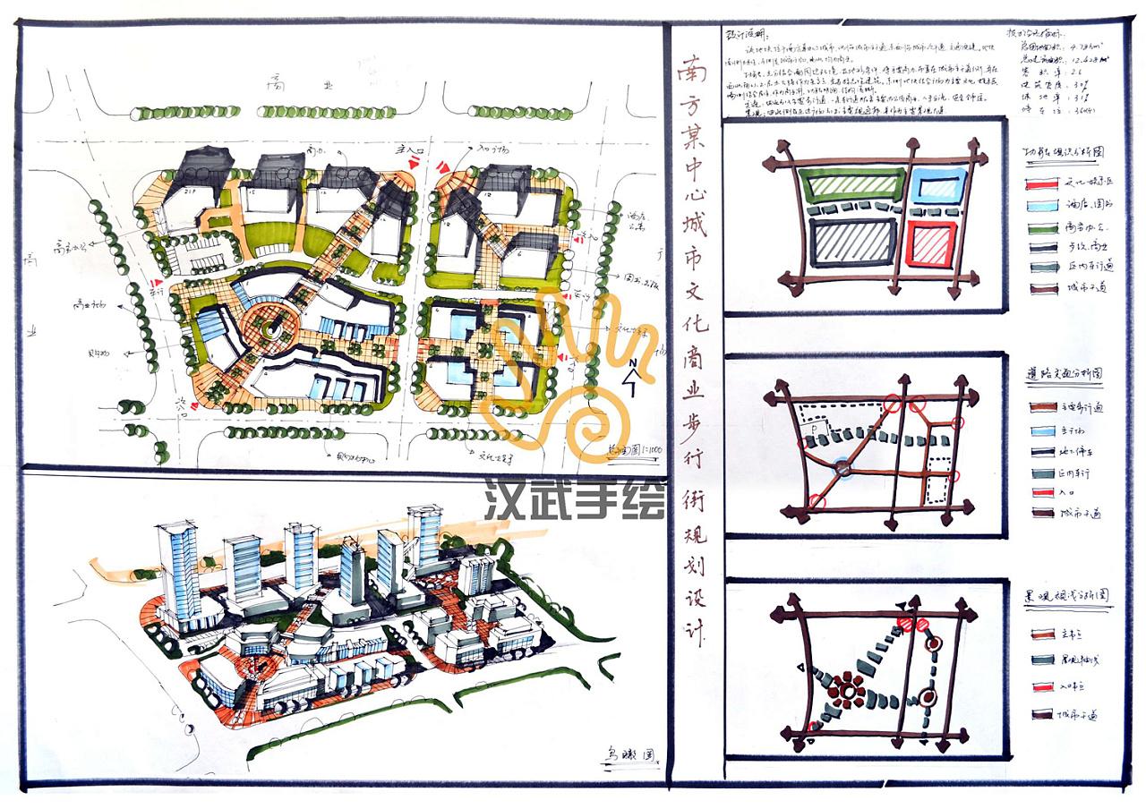 汉武手绘规划快题学生作品|空间|景观设计|whhwsh