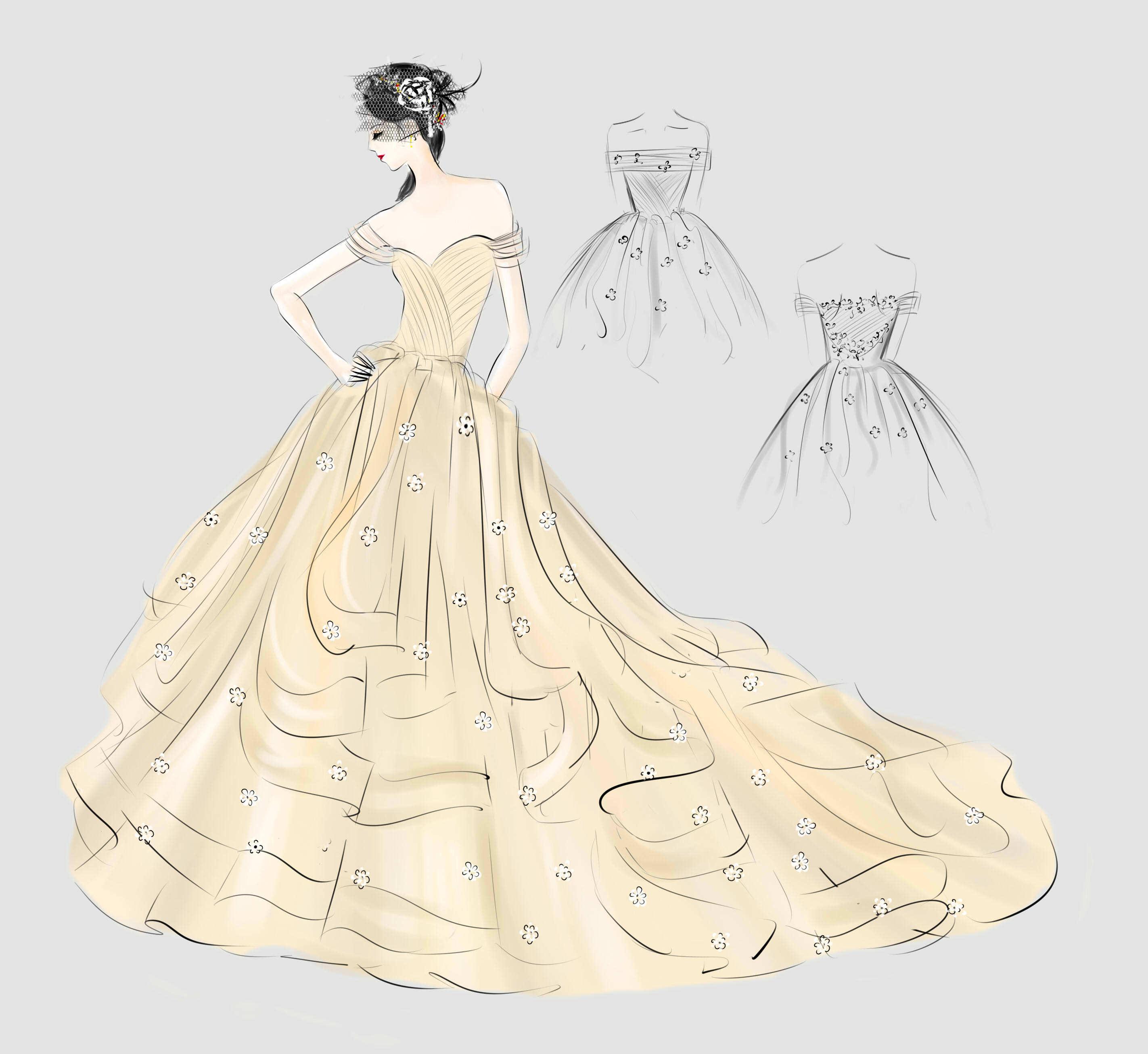 婚纱手绘|服装|正装/礼服|aceyqian - 原创作品