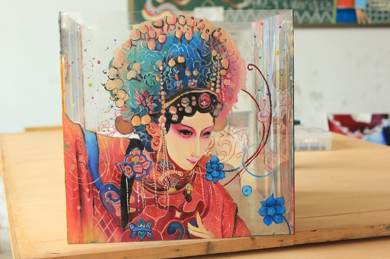 手绘玻璃缸(油画)