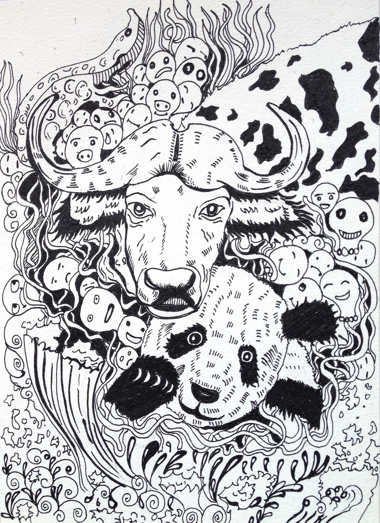 黑白手绘插画
