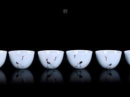 六鹤图天青釉茶具套组