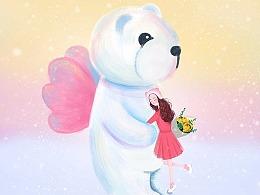 《温暖》熊和小女孩插画萌宠手绘人物时尚插画