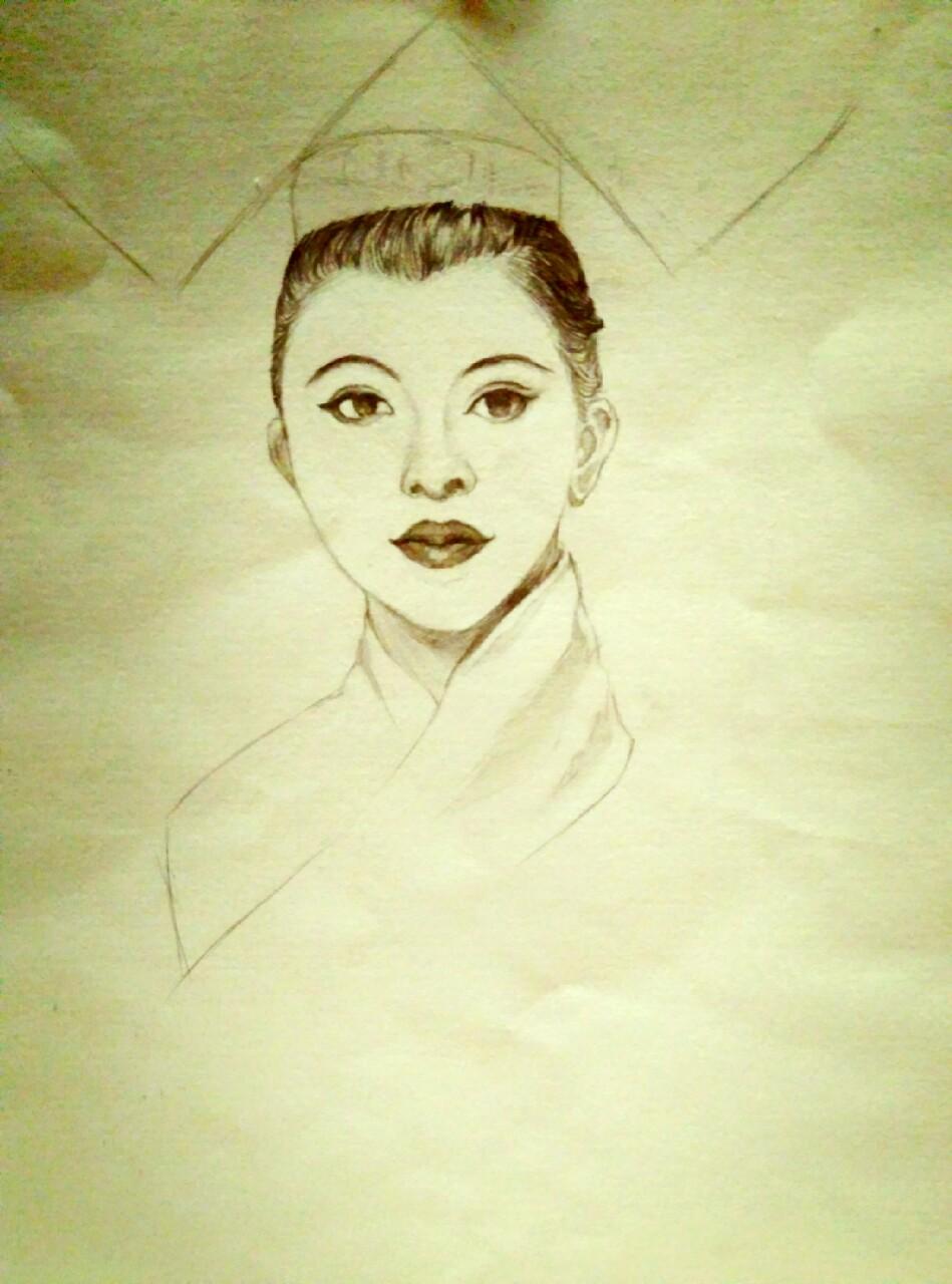 q版女生铅笔手绘古装