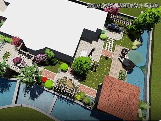 龙湖庭院别墅设计施工郑州林溪湾别墅案例别墅塘庭院林湾图片