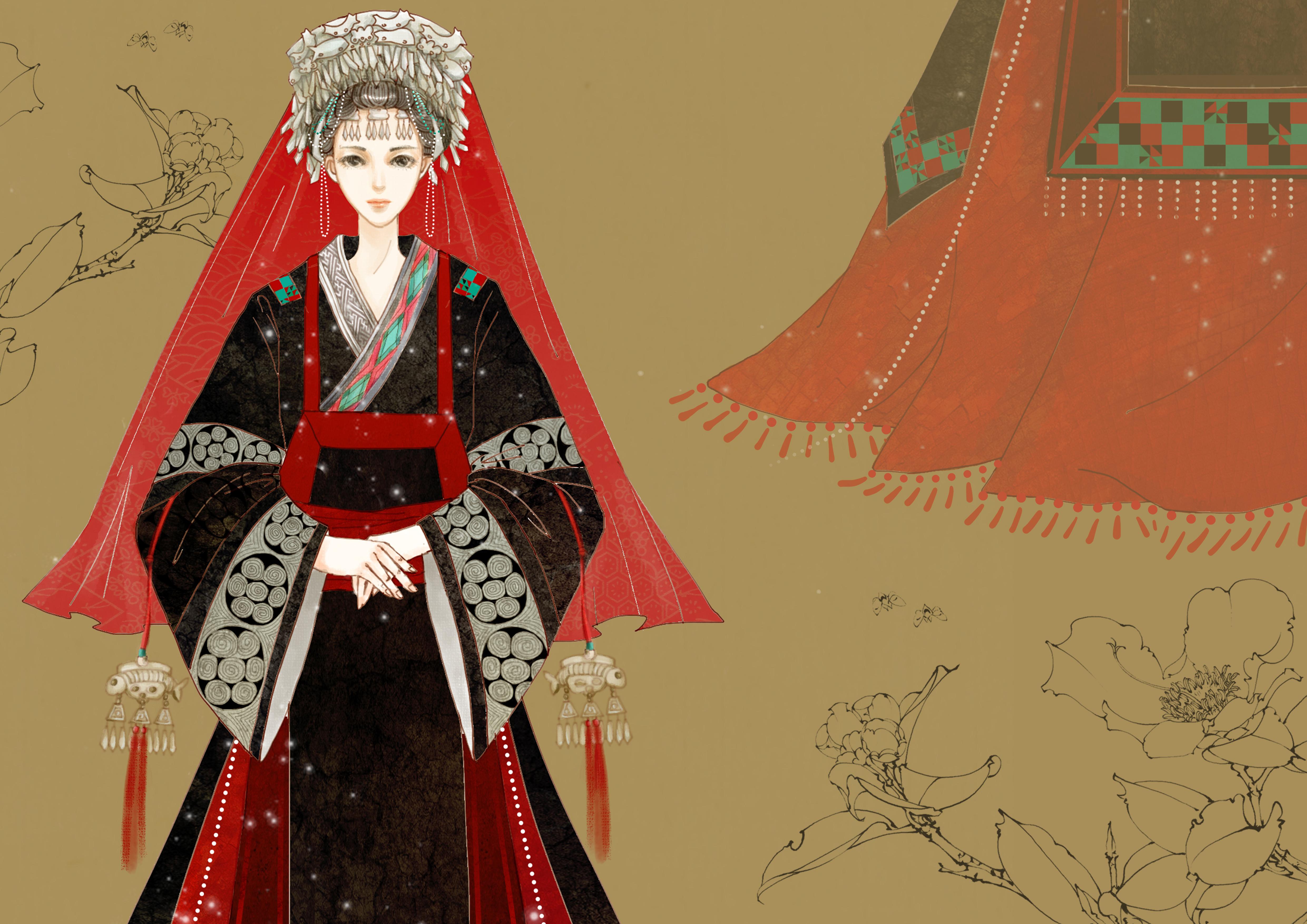 彩铅手绘美女嫁衣