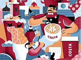 Karol Banach 为Costa咖啡打造视觉插画