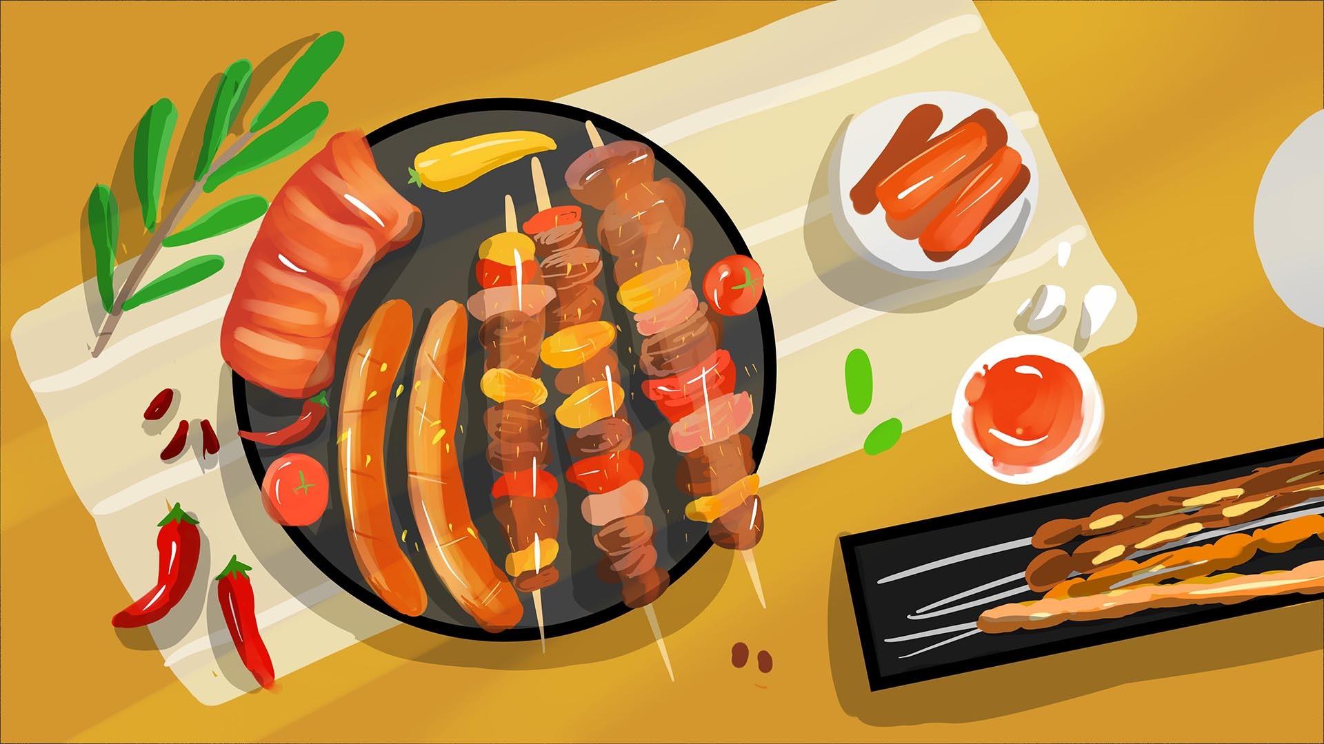 天下插画藕片炒美食美食图片