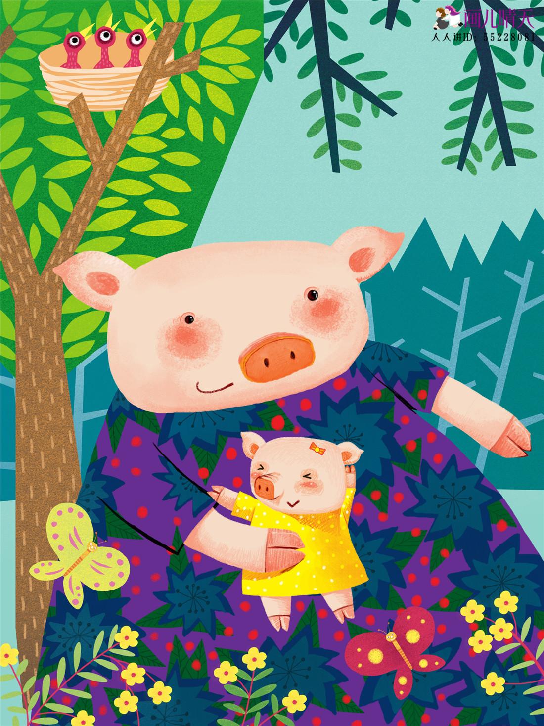 猪年插画 猪年水墨画 猪年猪猪元素作品图片