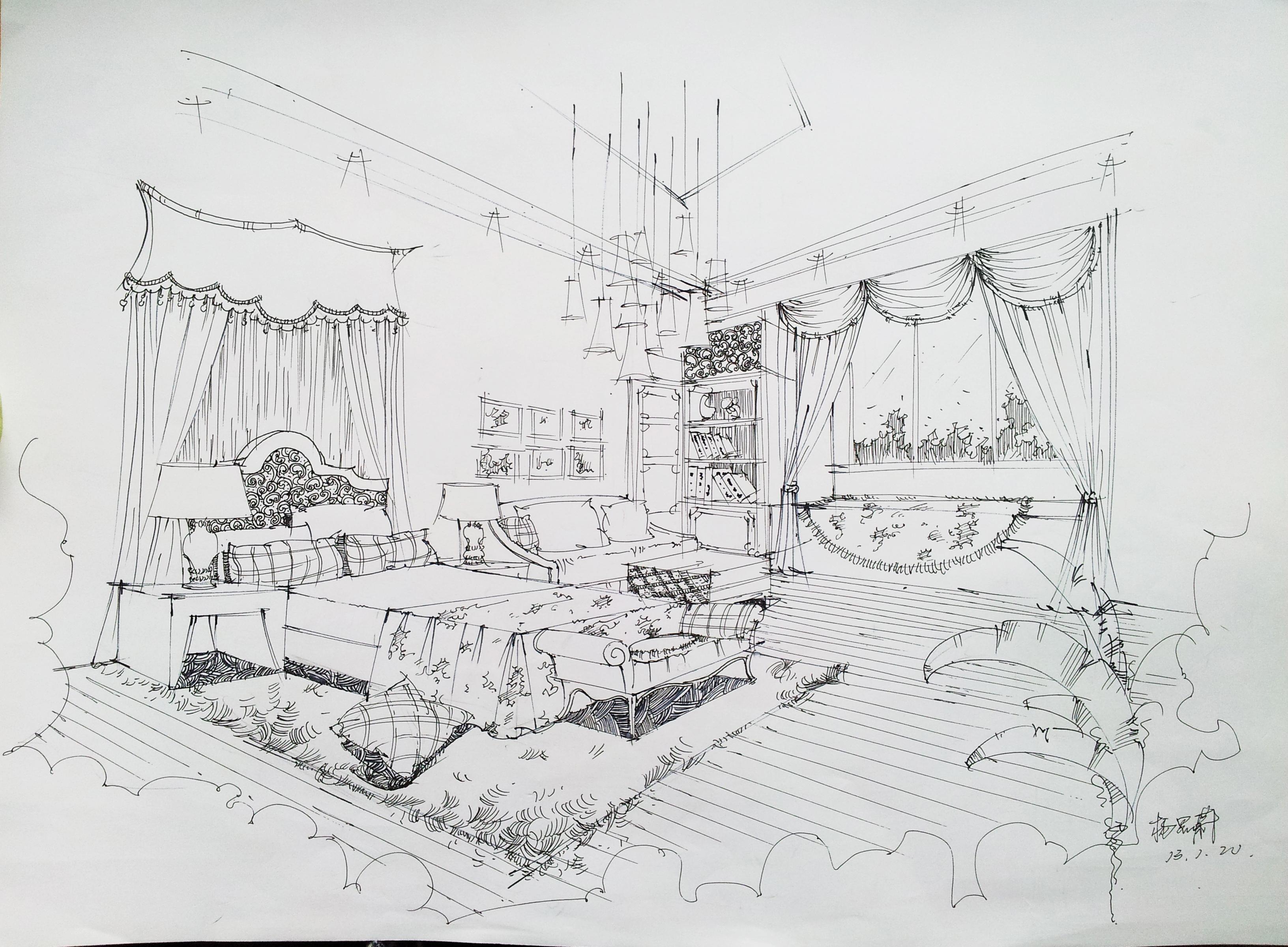 纯手绘卧室线稿