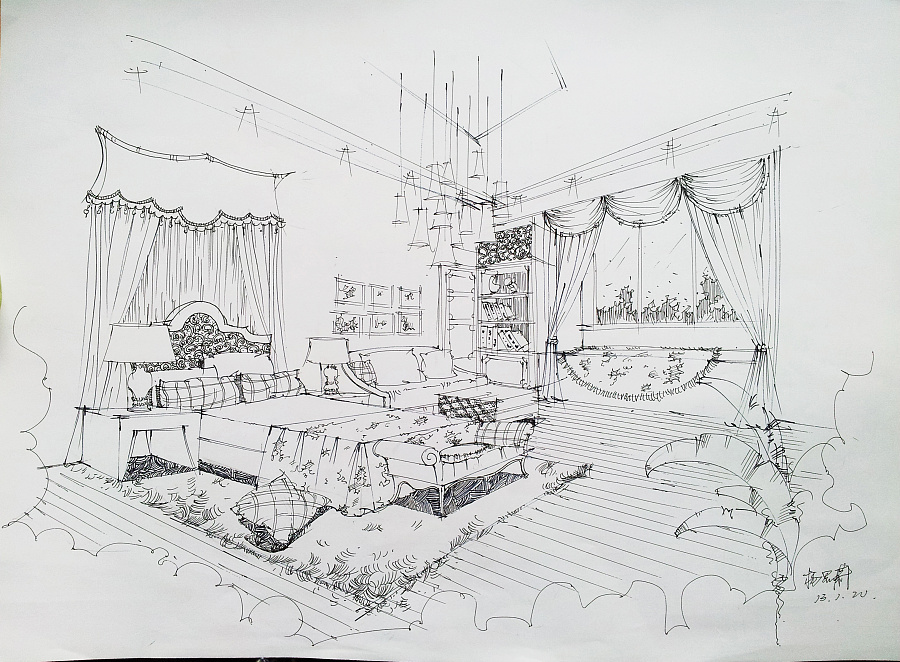 纯手绘卧室线稿|室内设计|空间/建筑|sivt - 原创设计