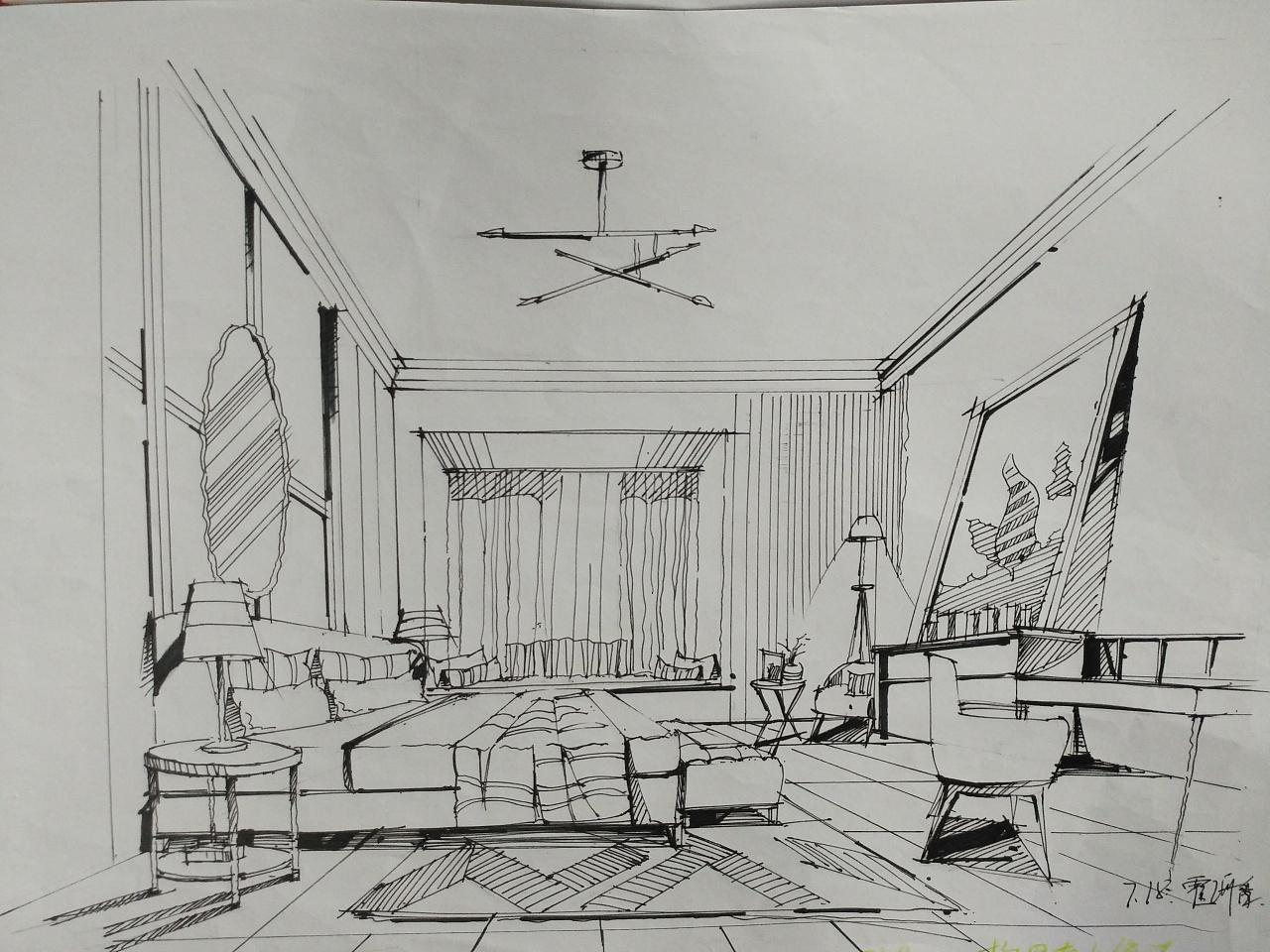 室内手绘效果图|空间|室内设计|z07000596 - 临摹作品
