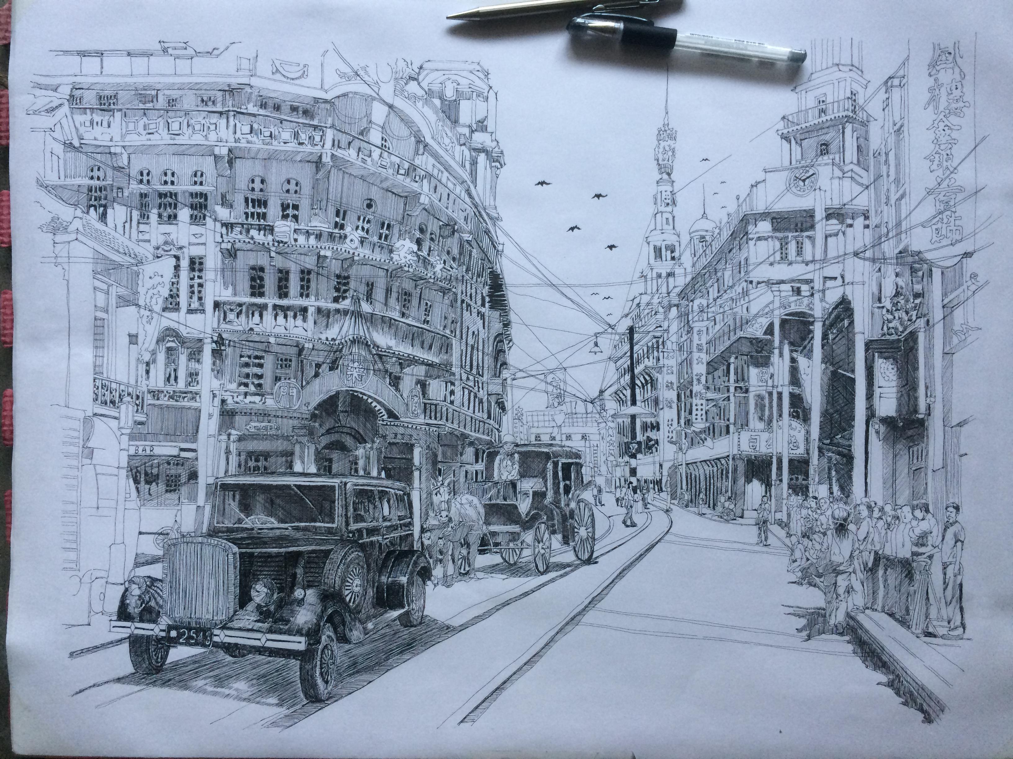 建筑手绘|纯艺术|钢笔画|凌海 - 原创作品 - 站酷