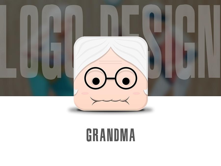 原创扁平化图标,卡通画老年人形象,可以用于老年产品logo