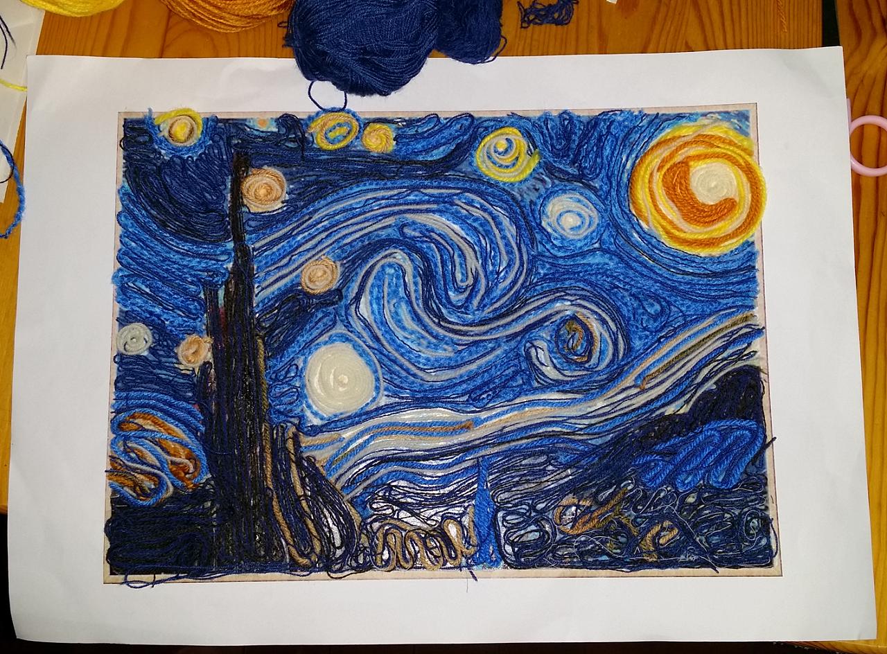 毛线贴画《星夜》