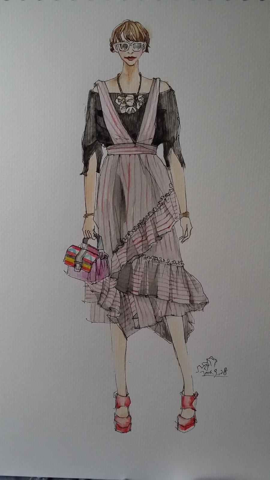 手绘时尚插画(女装)