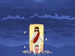 耶稣·插画|人生在世必遇患难,如同火星飞腾。