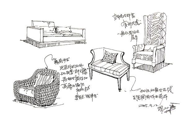 庐山艺术特训营邓蒲兵老师室内单体线稿作品展示