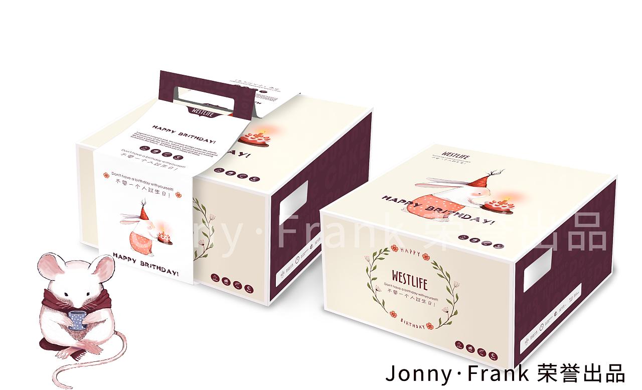 卡通蛋糕盒 手绘内容插画 烘焙包装设计|平面|包装| -图片