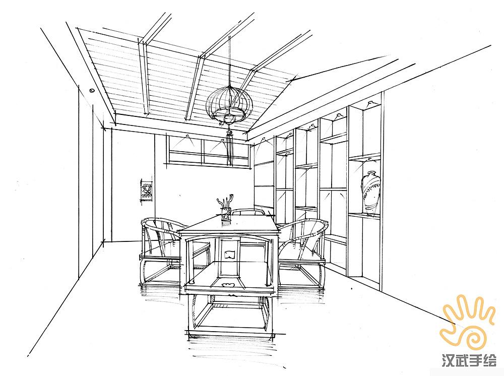 禅意室内手绘方案效果图,线稿 上色